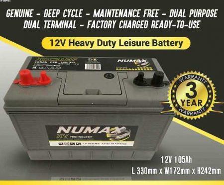 2 x Numax LV22MF 12v 75ah Leisure Caravan Marine Battery