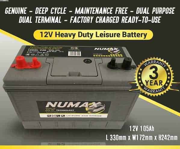 2 X LUCAS TWIN POST 12V 105AH DEEP CYCLE LEISURE  BATTERY MOTORHOME//CARAVAN
