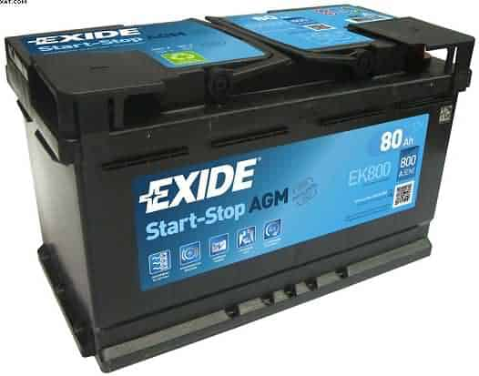 Exide Ek800 80ah Agm Start Stop 110 Battery Vrla Original Genuine Oem Battery Batteries On The Web